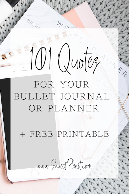 101 Bullet Journal or Planner Quotes