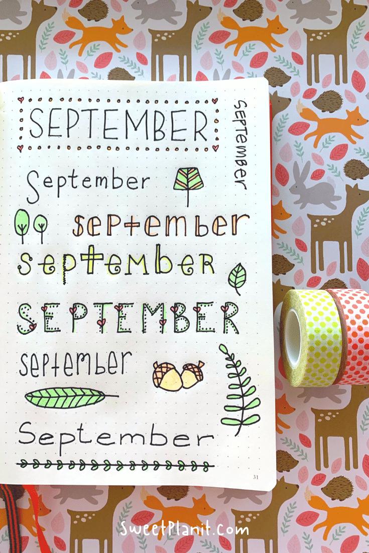 September Bullet Journal Page Idea