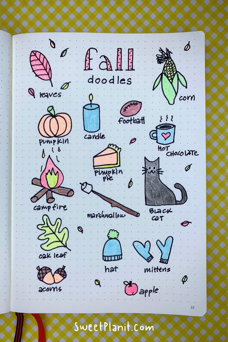 Easy Fall Doodles Ideas for your Bullet Journal or Planner