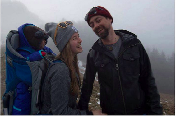 "The ""Lets be Nomads"" founders, Val and Tim, with their daughter, who is riding with them on their tour through Europe."
