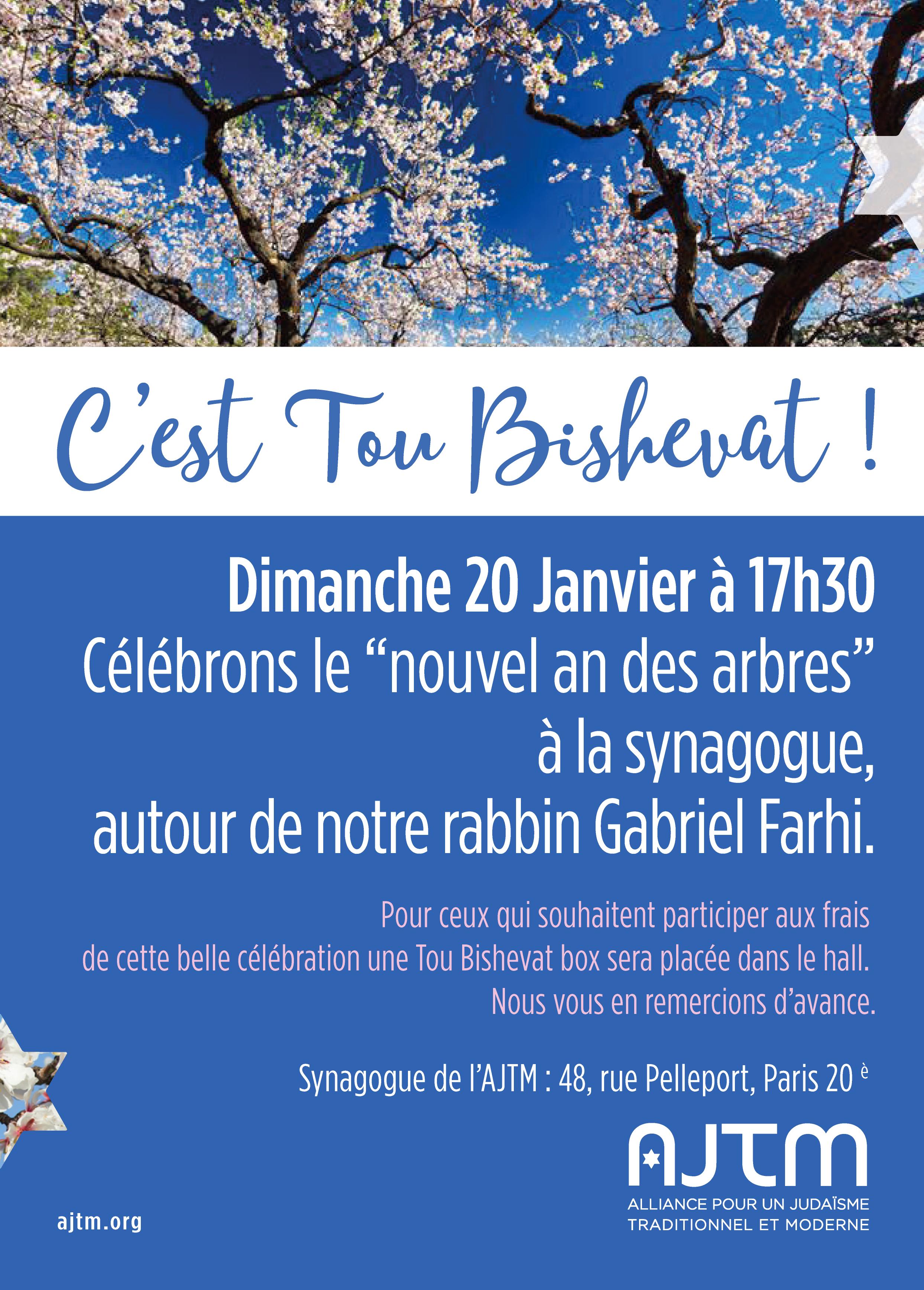 Tou BishevatLe 20 janvier, venez fêter Tou Bishevat à l'AJTM.Faites découvrir quantité de fruits de l'arbre et de fruits de la terre à vos enfants, petits-enfants, amis…. -