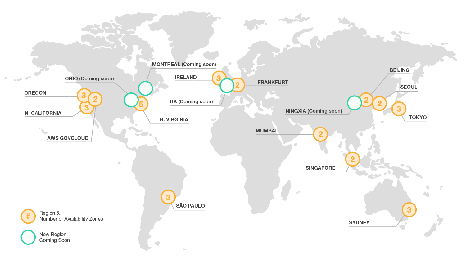 AWS Global Infrastructure  The AWS Cloud operates 35 Availability Zones within 13 geographic Regions around the world, with 9 more Availability Zones and 4 more Regions coming online throughout the next year.