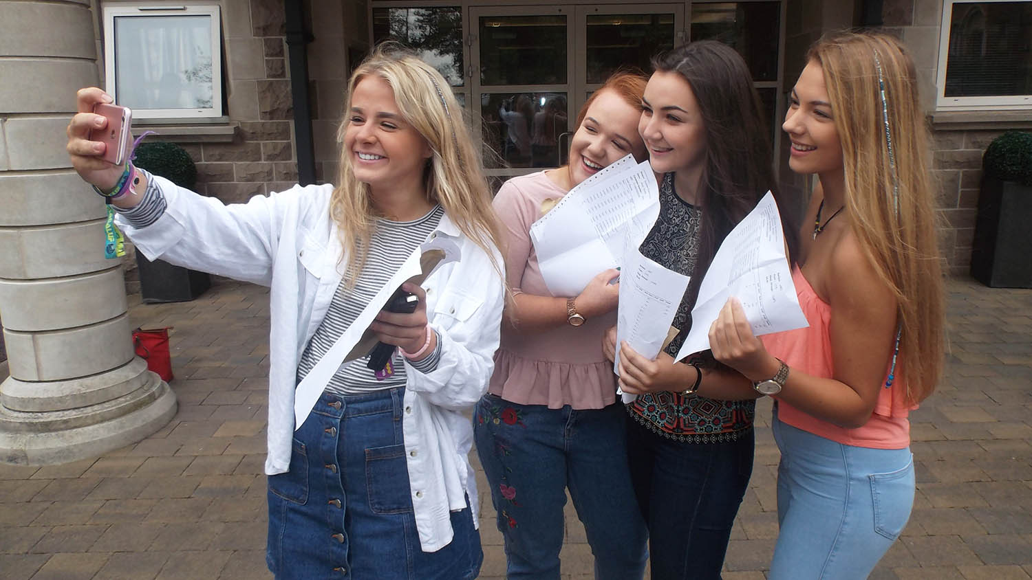 A Level Students collecting their results