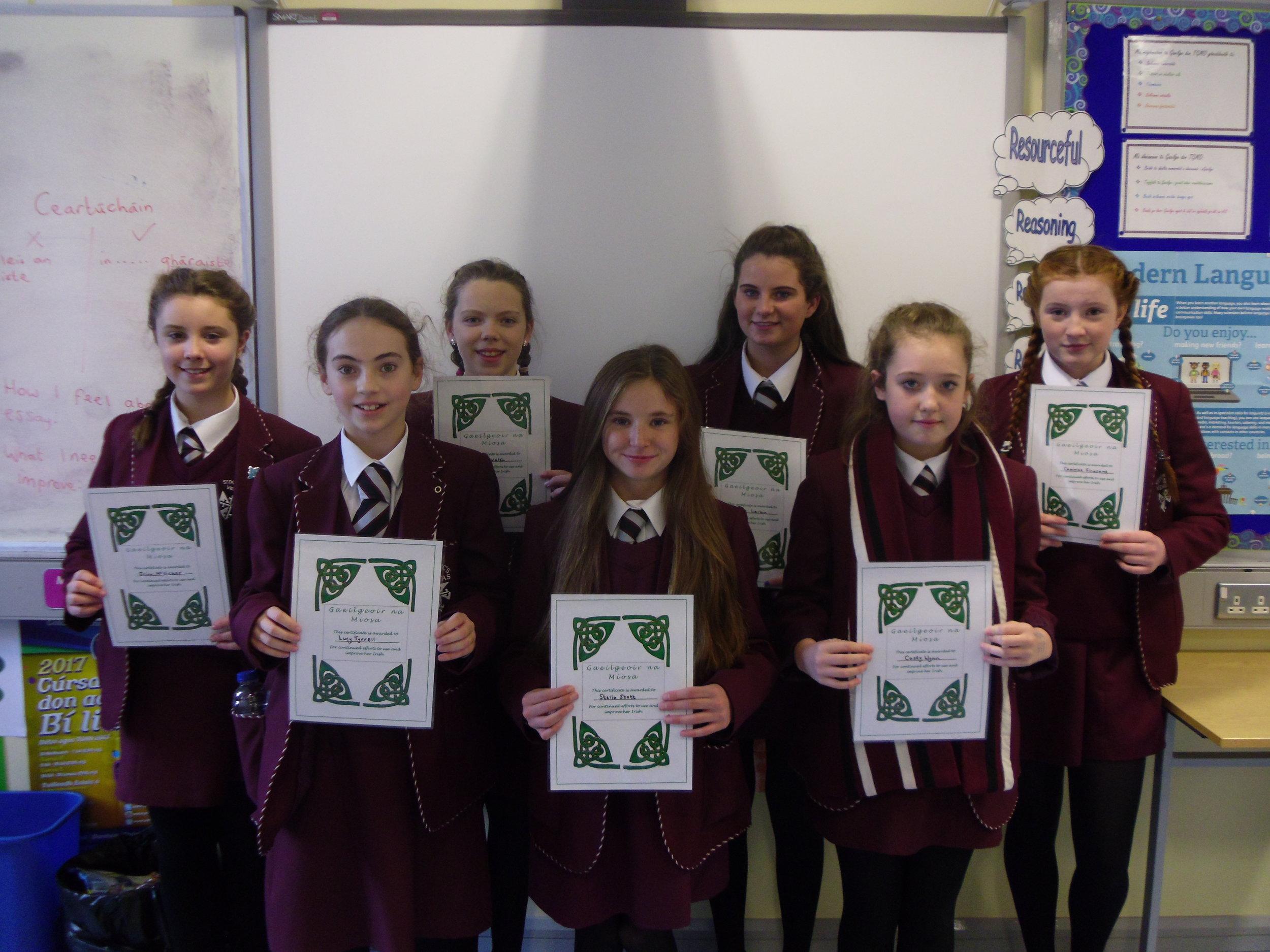 Gaeilgeoir na Míosa certificate winners
