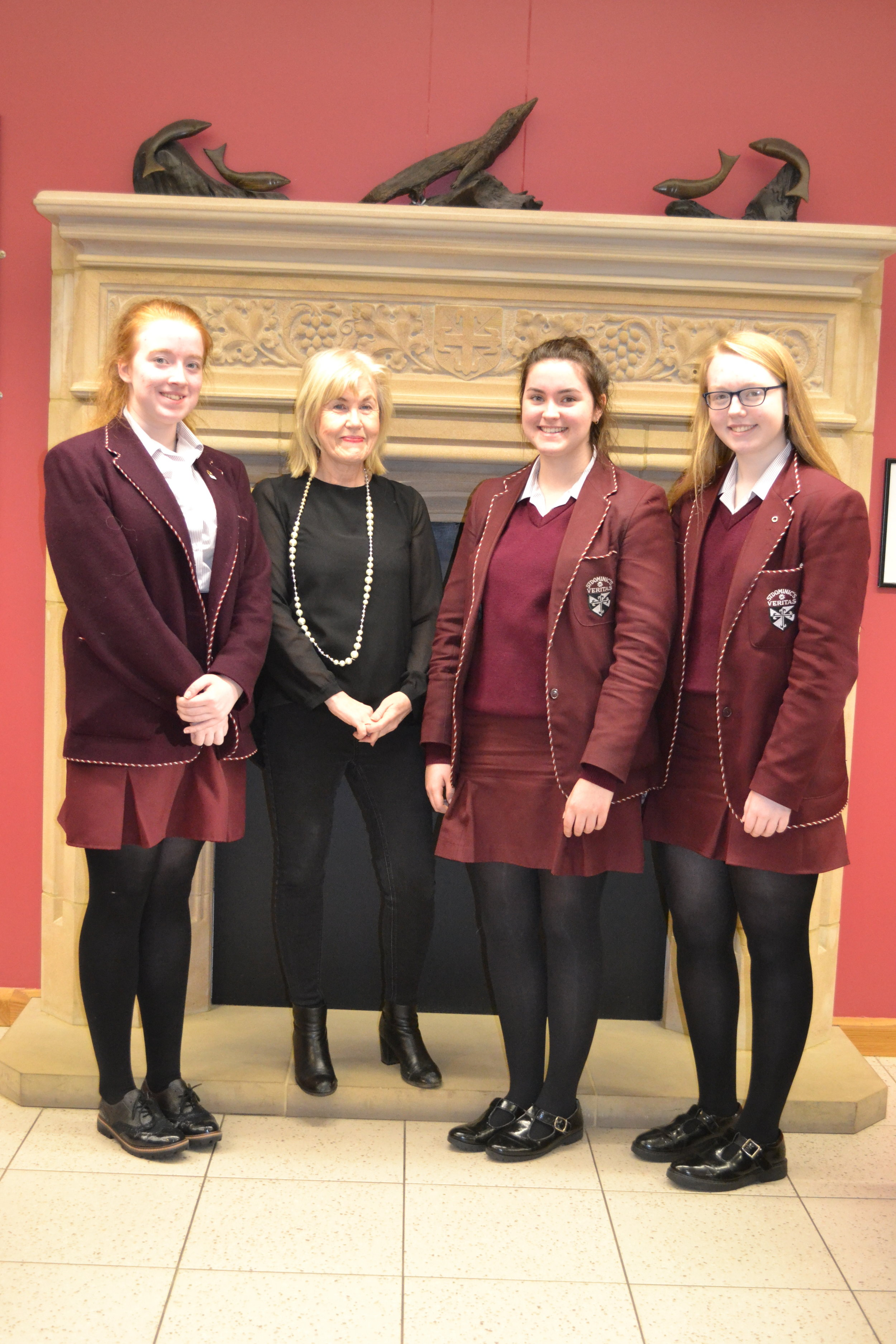 Katie Taylor Grieve, Clare Brennan and Cara McCallin for Gaeilge and Irish with Mrs McCann.JPG