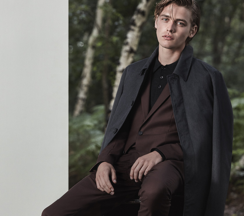 Houston B one-button blazer , £275  Houston T slim-fit trousers , £135  Mansion merino polo shirt , £85