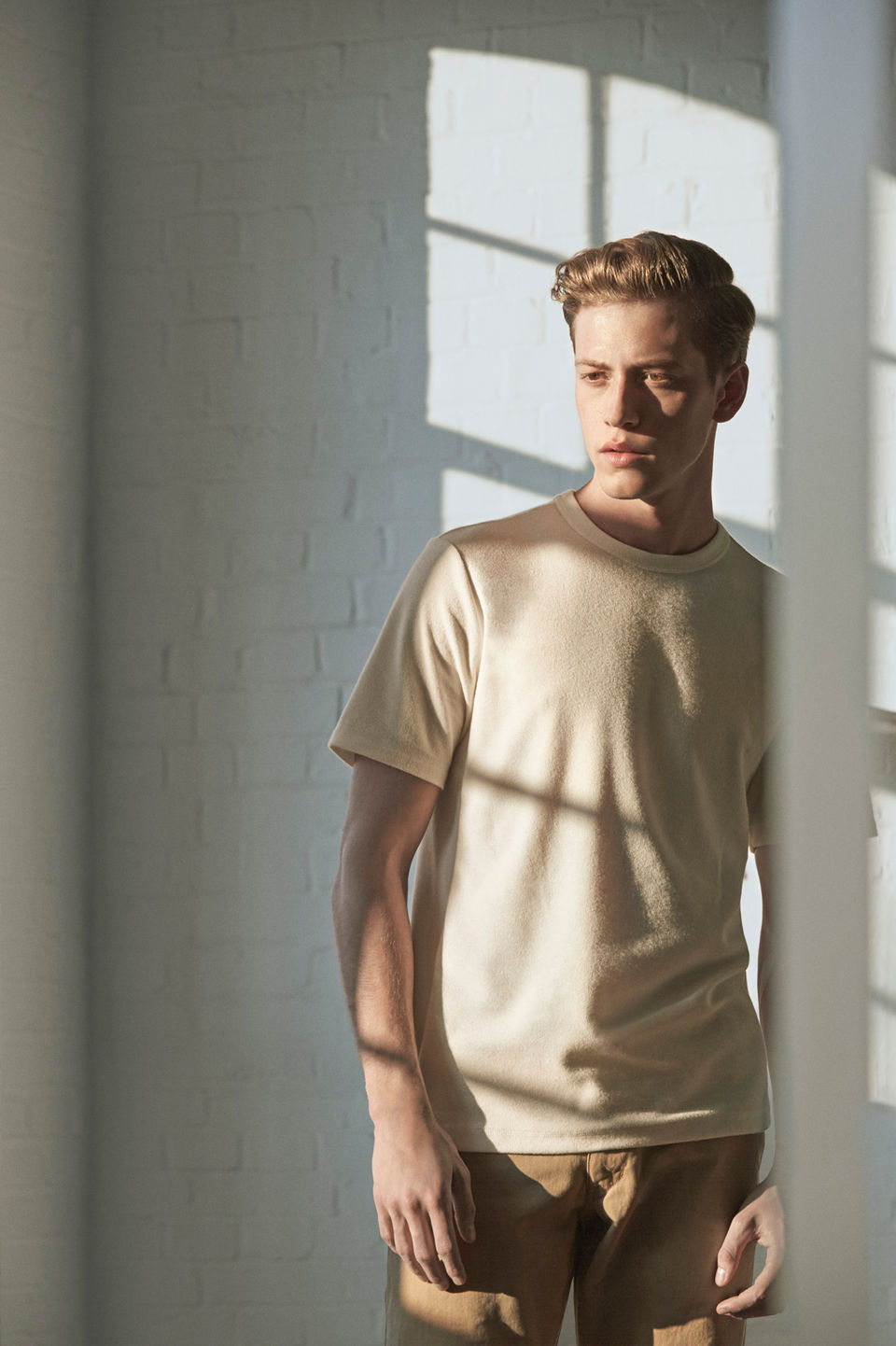 Panelled jersey t-shirt , £45 /  Classic fit chino , £85.