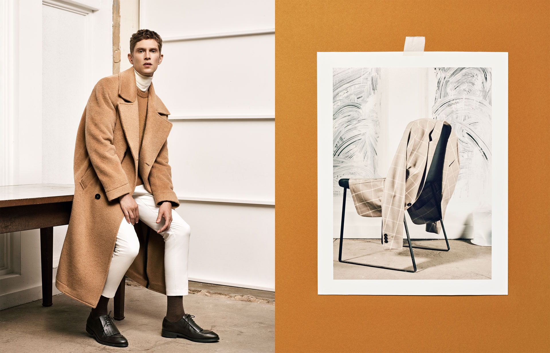 Studio overcoat , £159  Studio sweater , £59.99  Studio turtle neck sweater , £45.99  Studio trousers , £29.99  Studio suit , £99.99  Studio brown leather fringed shoes , £79.99