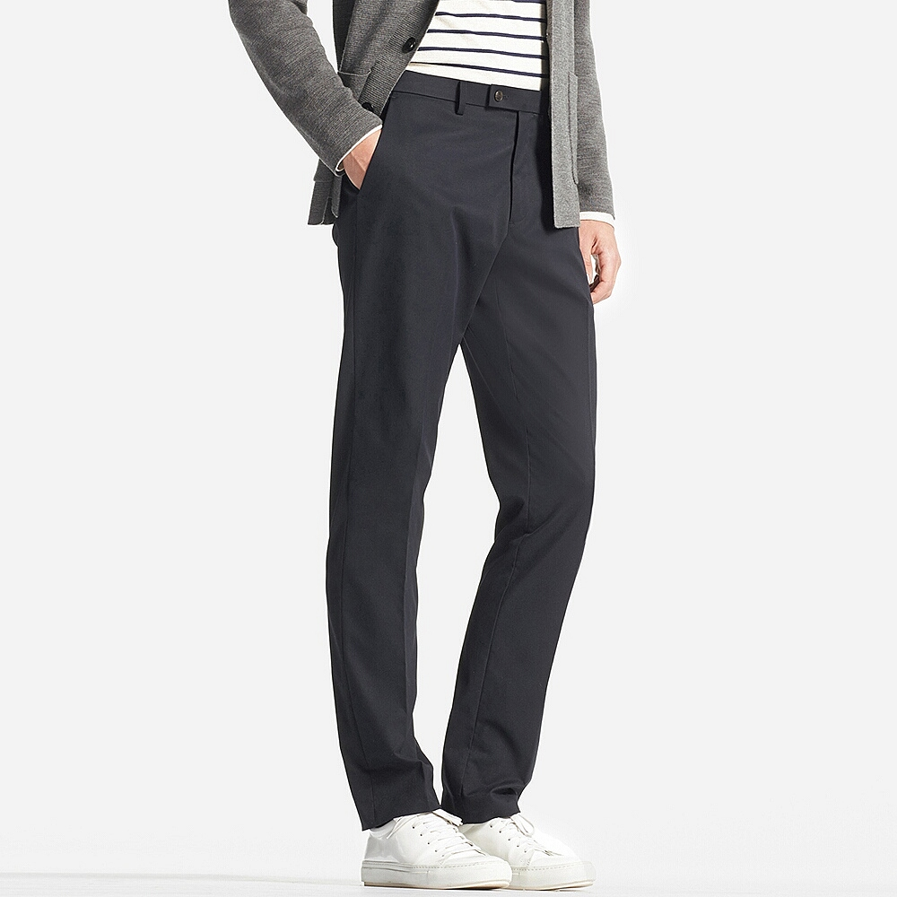 Stretch slim-fit flat-front trousers , £29.90