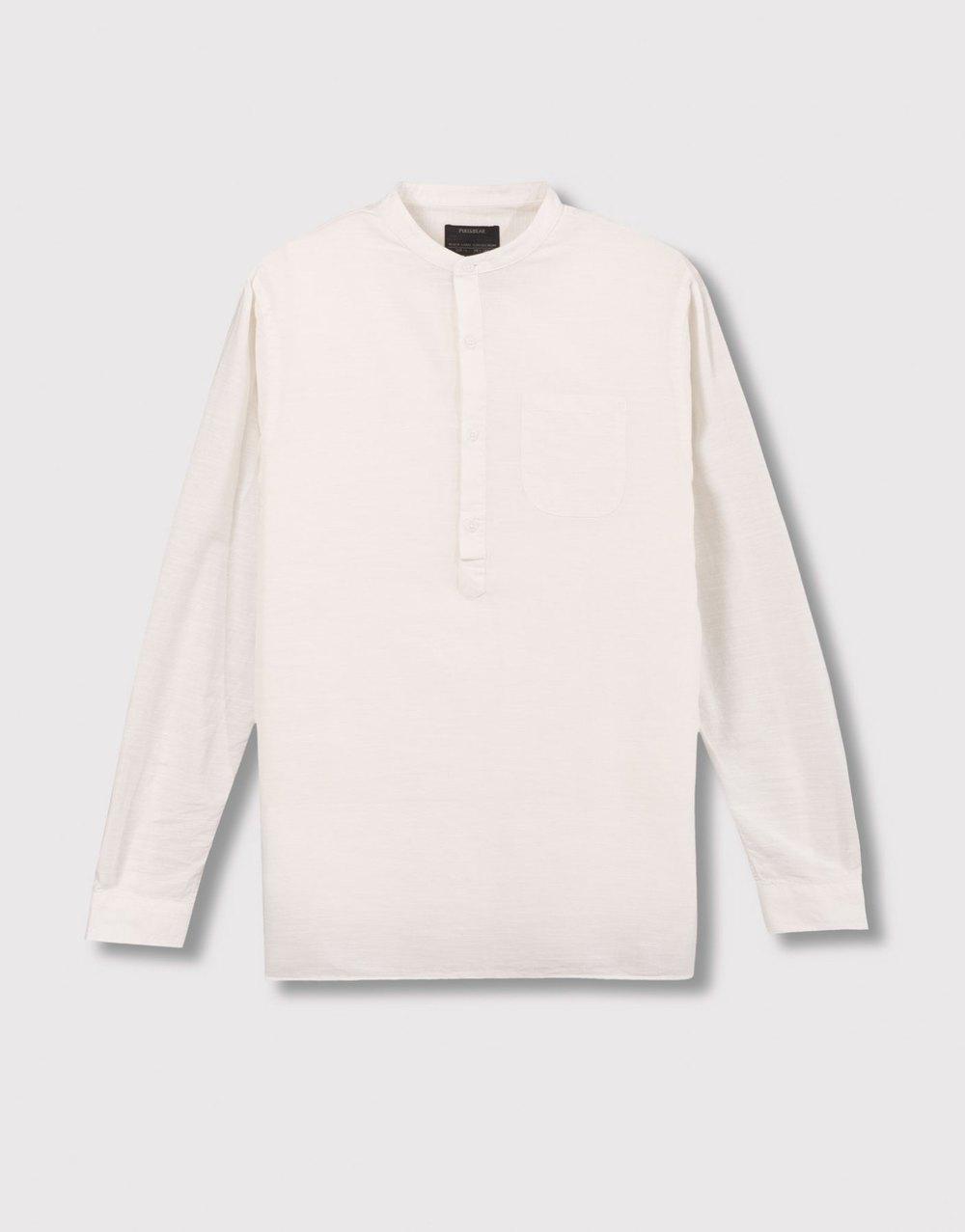 Mao collar shirt, £25.99 ( pullandbear.com )