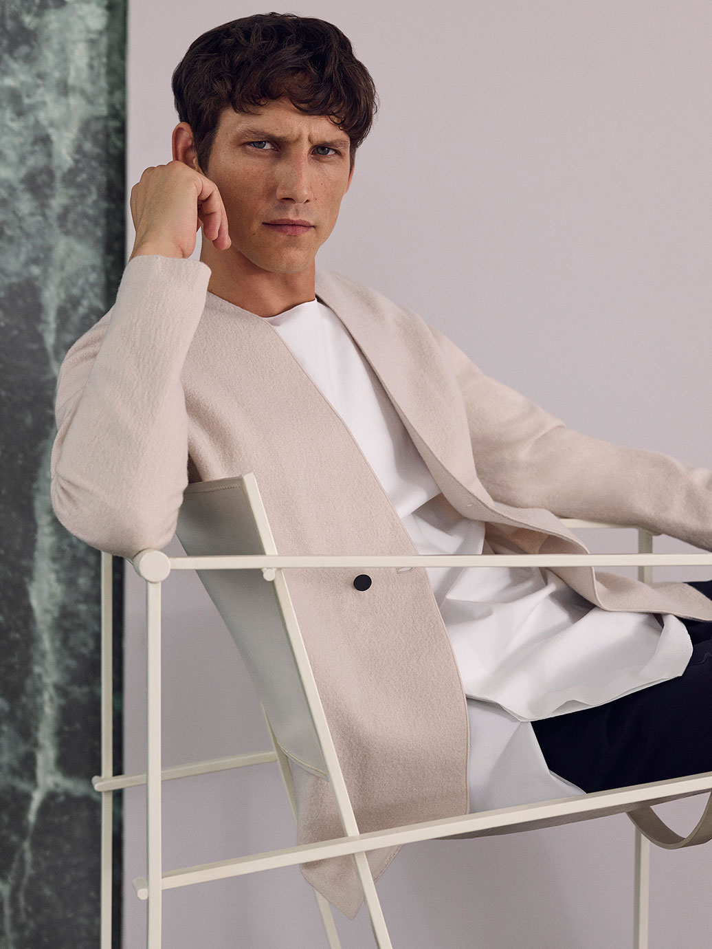 Double-breasted wool cardigan , £89  Round-neck shirt , £59  Drawstring tailored trousers , £79