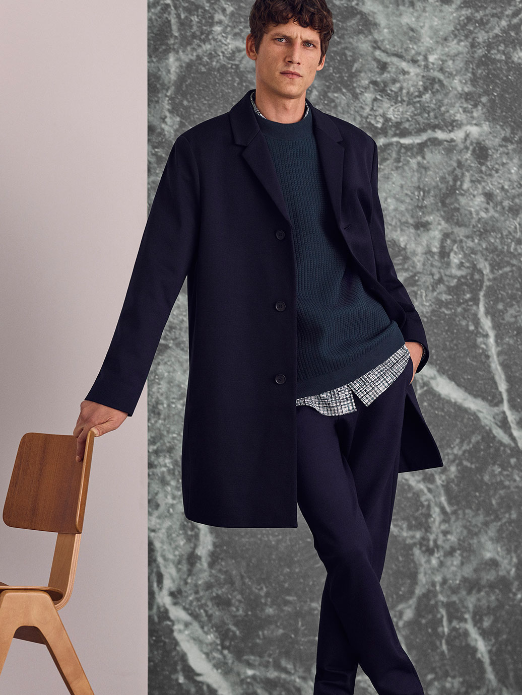 Jersey coat , £115  Raised square knit jumper , £59  Printed cotton shirt , £59  Zip-cuff jersey trousers , £69