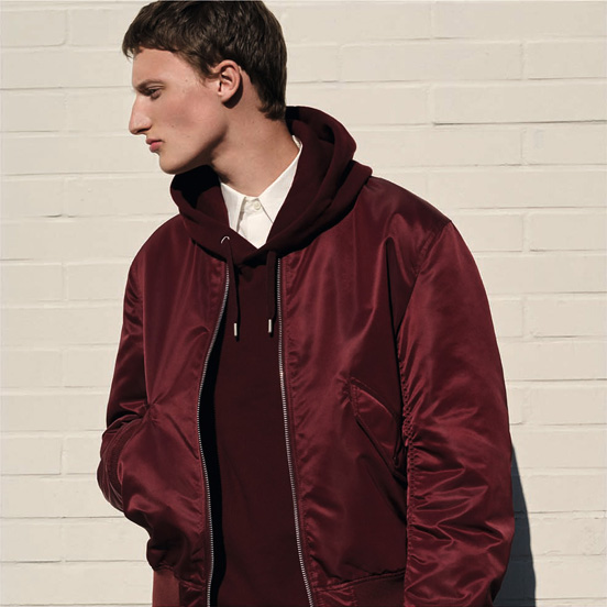MEN U MA-1 blouson,£59.90 MEN U long sleeve sweat pull over hoodie,£29.90 MEN U extra fine cotton broadcloth long sleeve shirt,£29.90