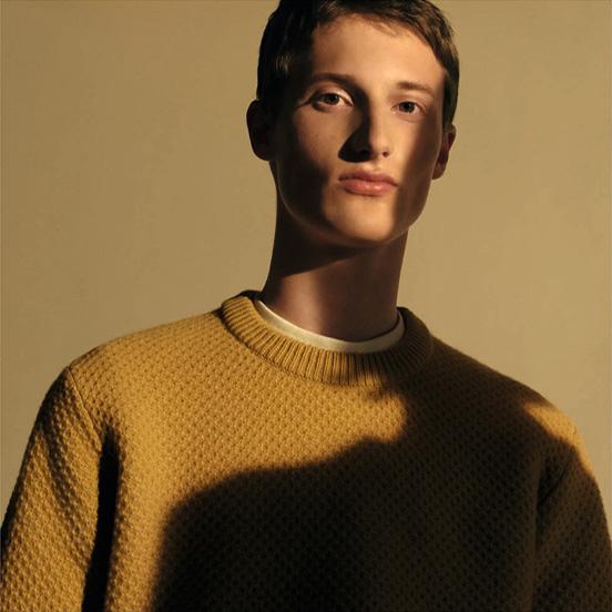 MEN U Lambswool crew neck long sleeve sweater Honey comb,£34.90