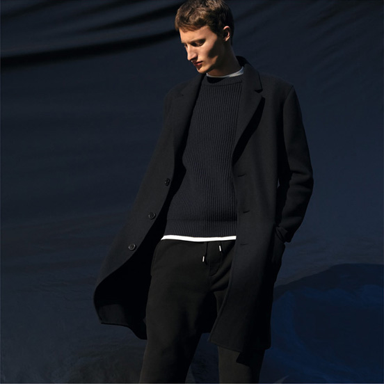 MEN U Double face wool blend Chesterfield coat,£129.90 MEN U Lambswool ribbed crew neck long sleeve sweater,£39.90 MEN U short sleeve crew neck T-shirt,£12.90 MEN U sweat pants,£29.90