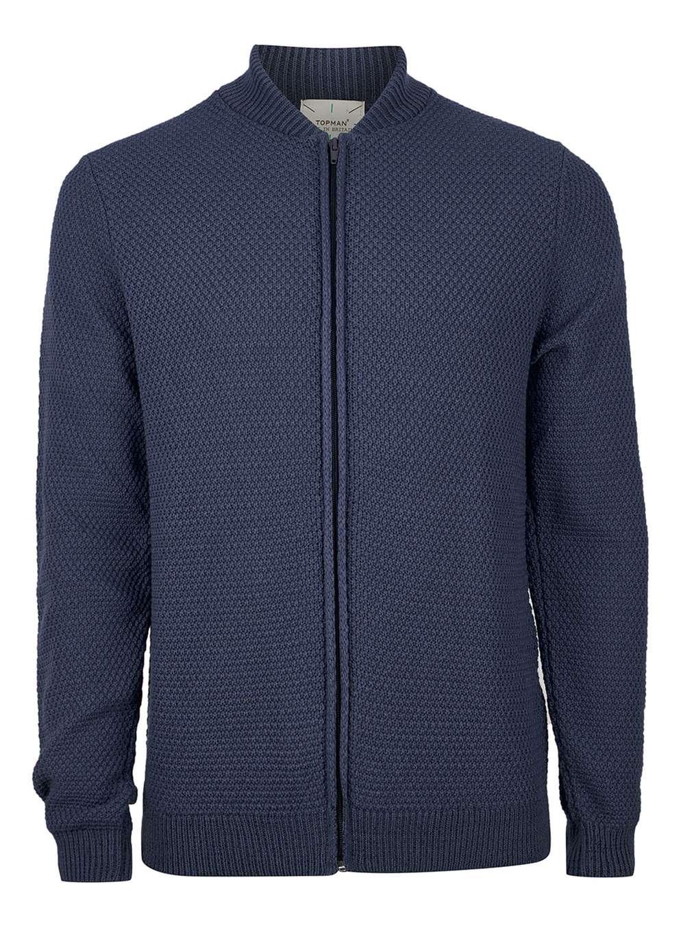 Denim-knitted bomber jacket, £35 ( topman.com )
