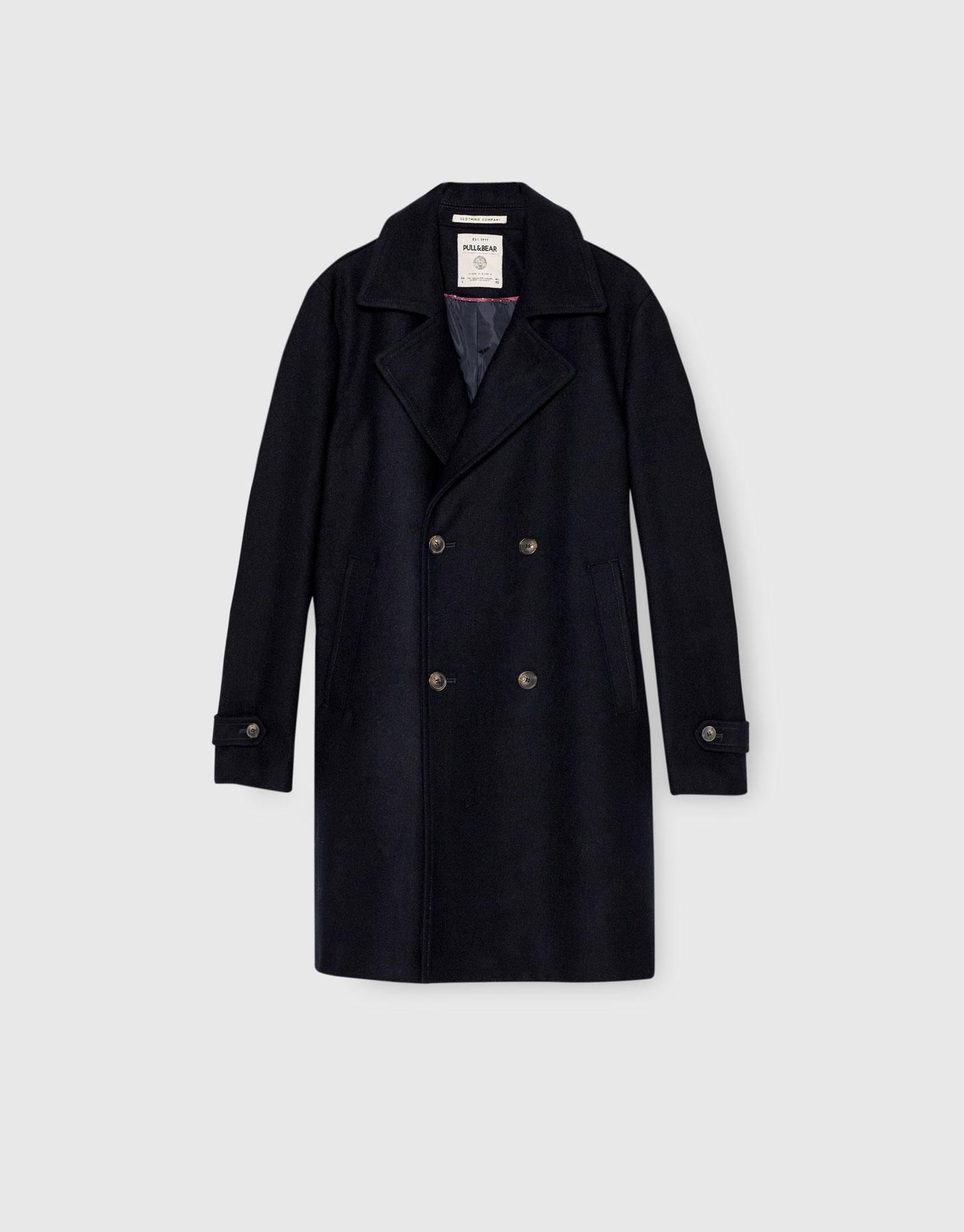 Double-breasted cloth coat, £89.99 ( pullandbear.com )