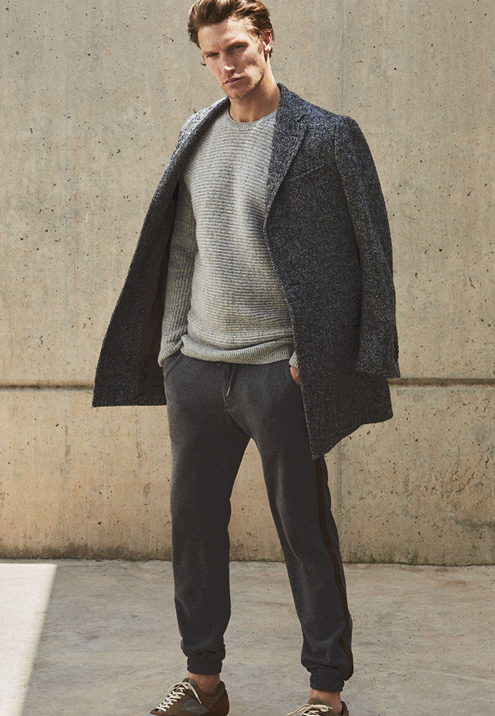 Jogging trousers , £54.95  Limited edition wool coat , £249  Contrast leather sneakers , £74.95