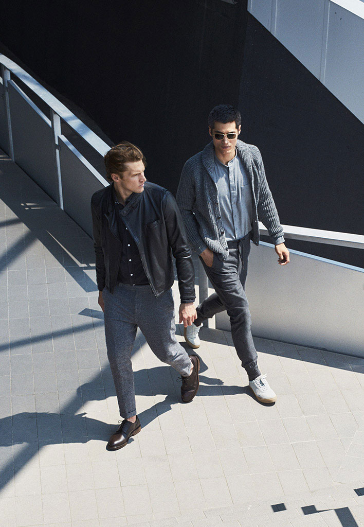 Cardigan with neckline detail , £74.95  Mandarin-collar shirt , £44.95  Jogging trousers , £54.95  Smart Oxford shoes , £109  Square Aviator sunglasses , £64.95  Houndstooth wool trousers , £64.95  Leather sneakers , £64.95