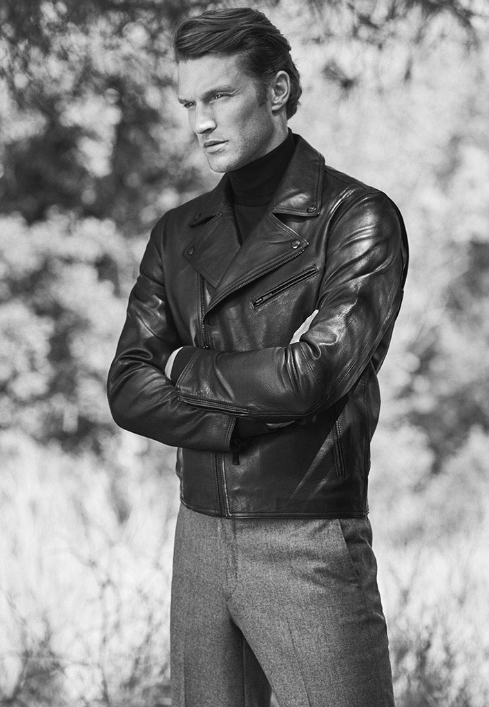 Personal Tailoring leather jacket , £299  Personal Tailoring sweater with polo neck , £64.95  Personal Tailoring wool trousers , £99.95  Leather blucher with buckle , £149
