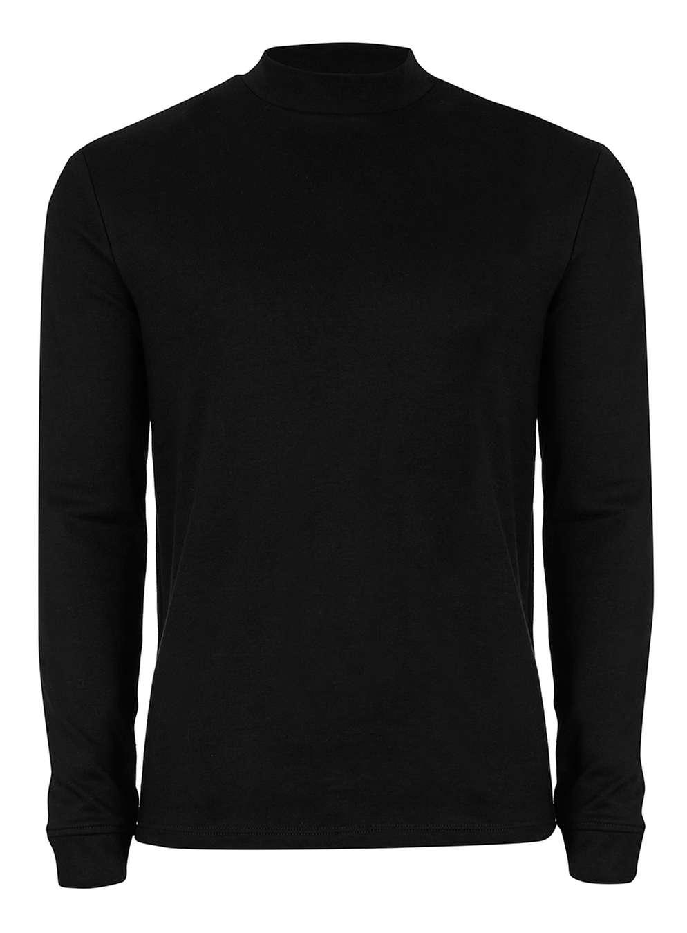 TOPMAN PREMIUM Black Turtle Neck Long Sleeve T-Shirt , £30