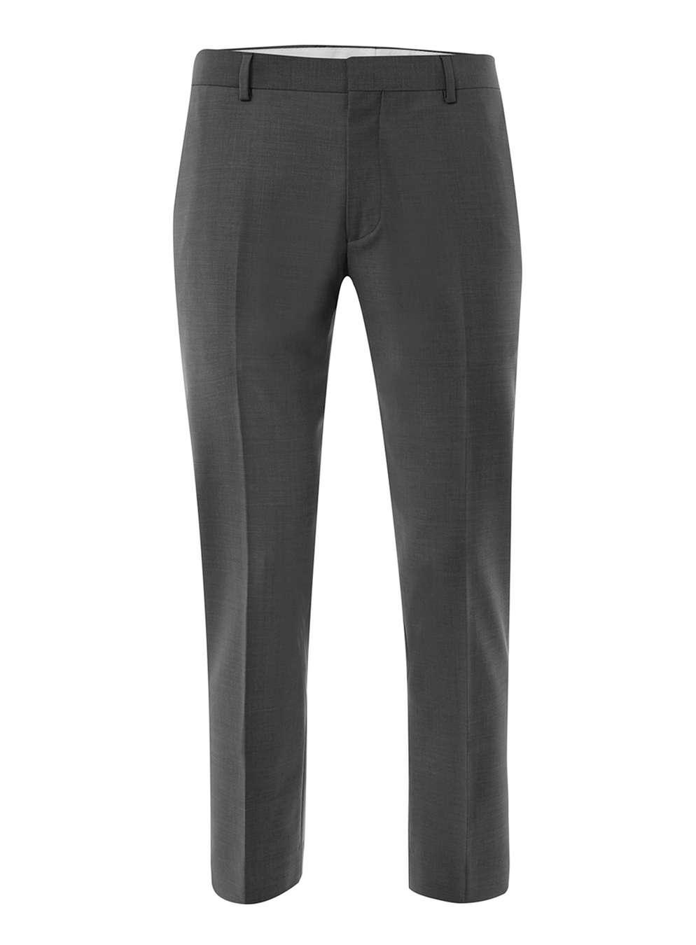 TOPMAN PREMIUM Grey Skinny Fit Cropped Trousers , £45
