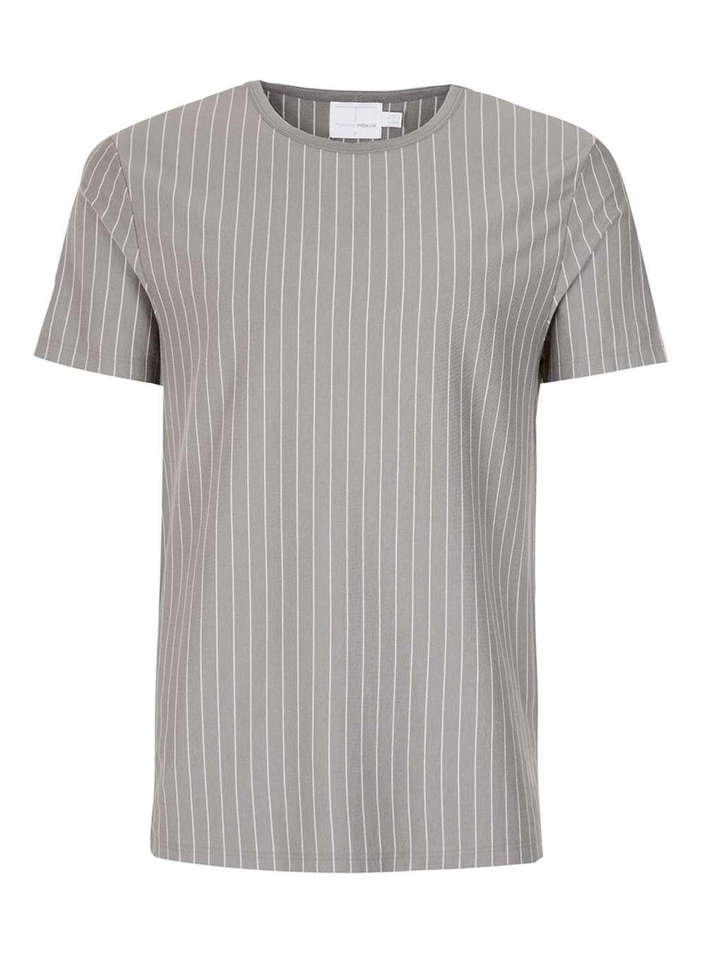 TOPMAN PREMIUM Grey Stripe T-Shirt , £25