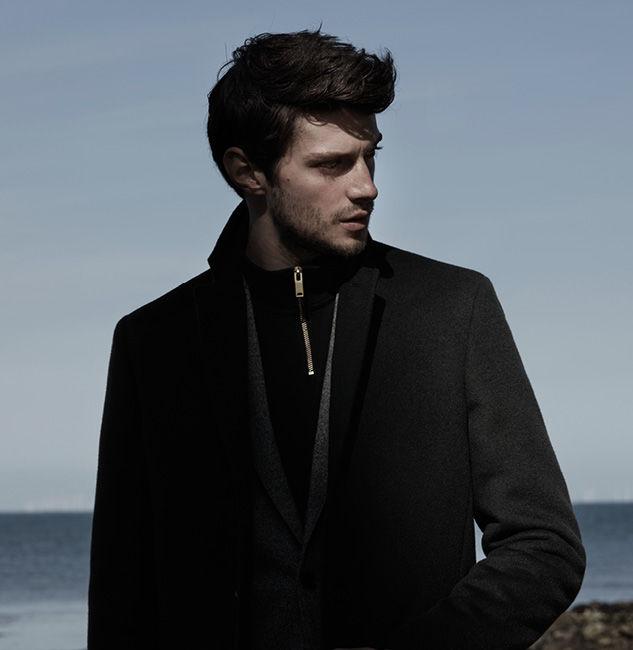 Gabriel epsom coat , £295  Victor wool blazer , £275  Equate funnel-neck sweatshirt , £75