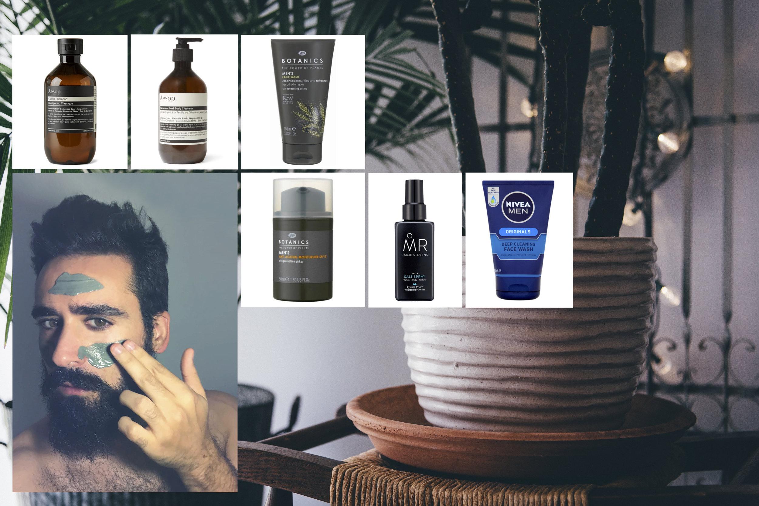 Aesop  Classic shampoo , 200ml £17 Aesop  Geranium leaf body cleanser , 200ml £17 Boots Botanics  Face wash , 150ml £3.99 Boots Botanics  Anti ageing moisturiser SPF 15, 50ml , £6.99 Jamie Steven's  MR. Style salt spray, 150ml , £10 Nivea for Men  Deep cleaning Face wash ,