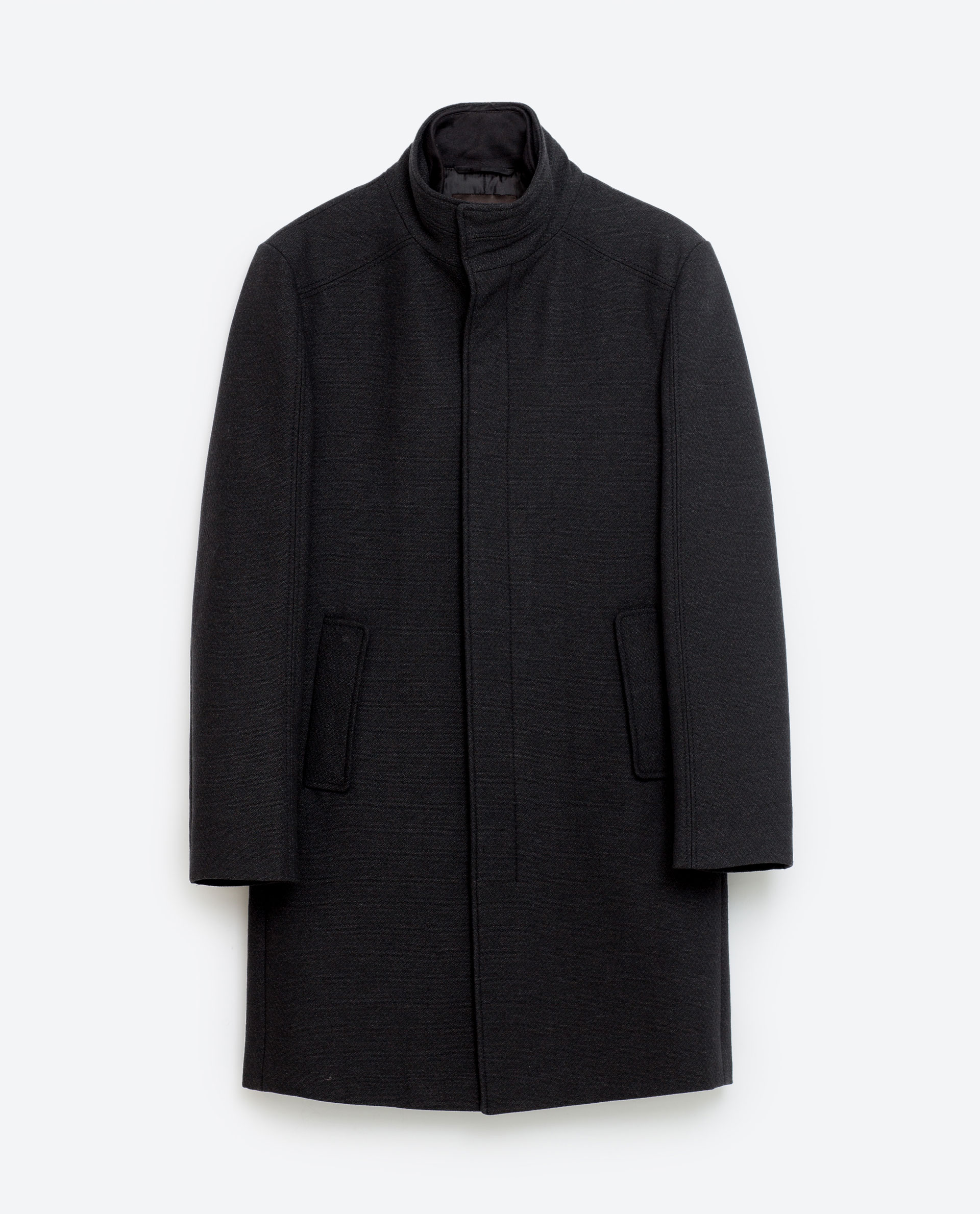 Coat with knitted collar, £119 ( zara.com )