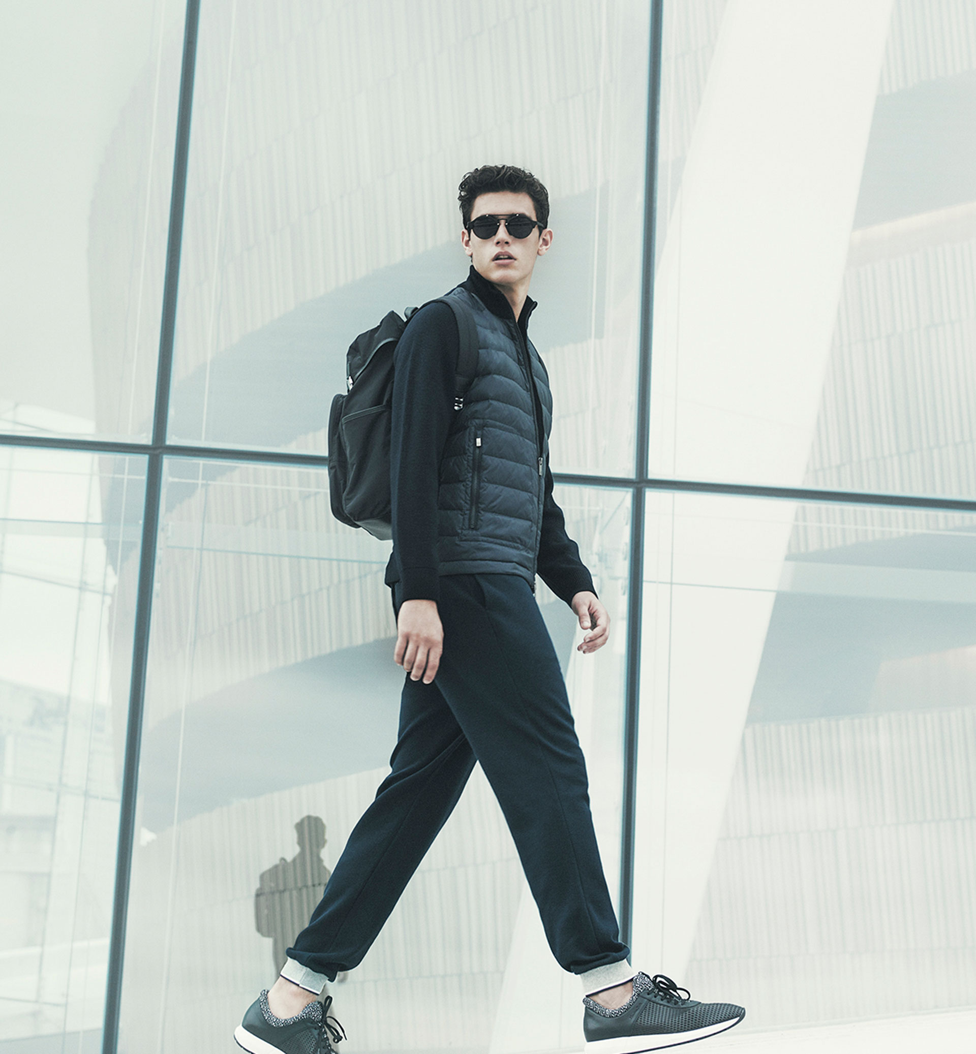Soft merino cardigan with quilted detail , £109  Soft New York Skyline t-shirt , £19.95  Soft trousers with a contrasting hem detail , £54.95  Soft Saffiano backpack , £79.95  Soft openwork leather sneakers , £79.95  Soft polarised sunglasses , £64.95