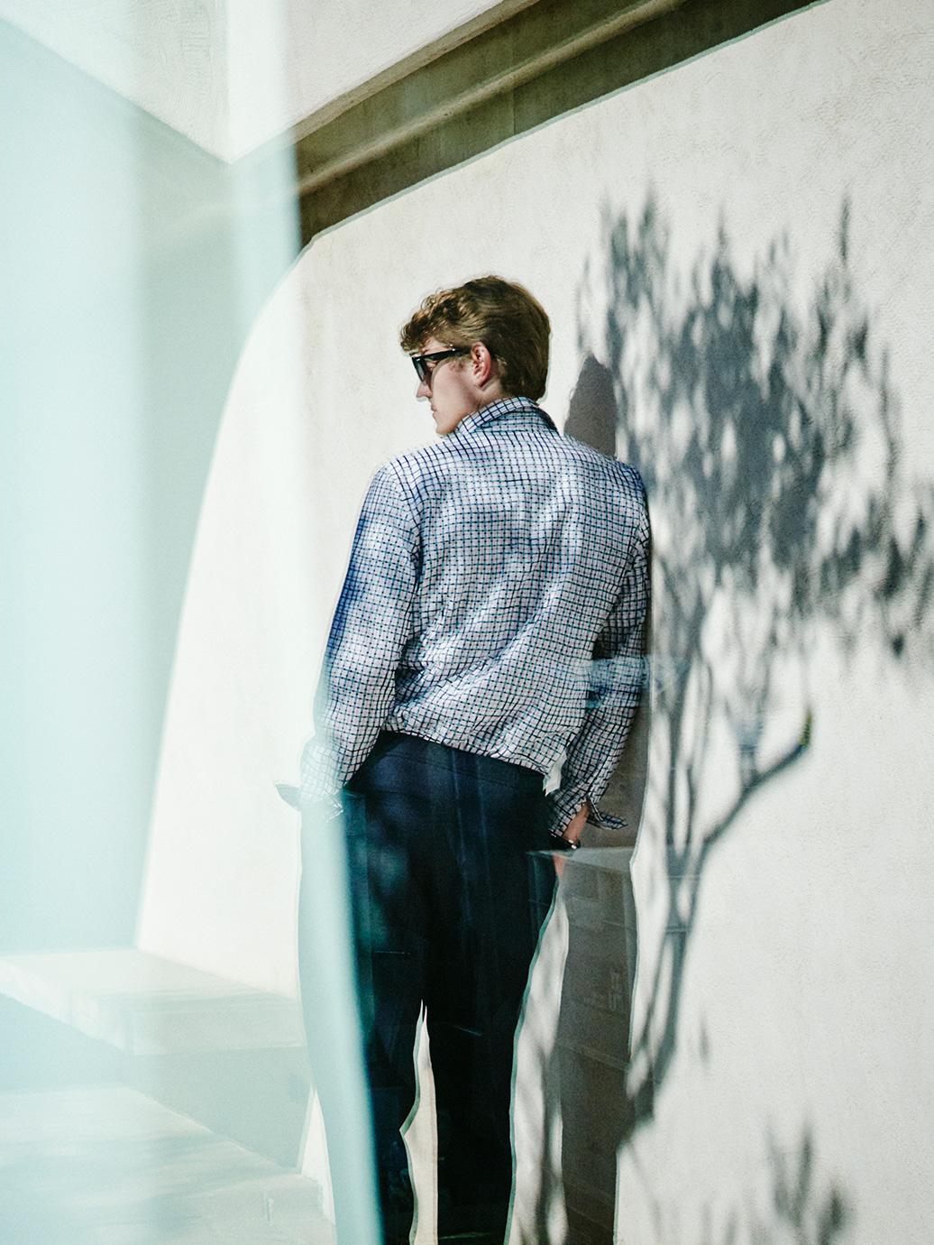 Printed press stud shirt , £59  Slim-fit cotton trousers , £69