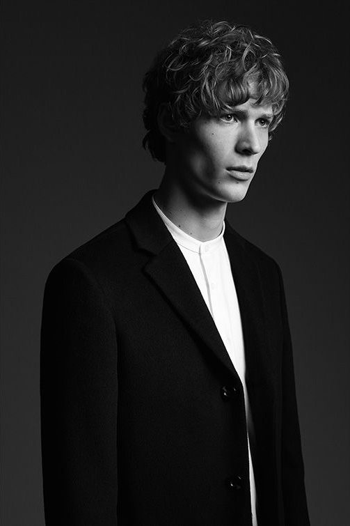 Gabriel wool-blend epsom coat , £295  Slim grandad collar shirt , £85