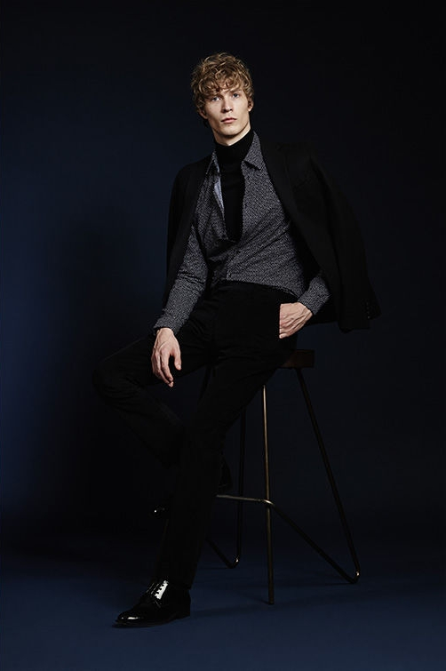 Victor wool blazer , £275  Bruin slim printed shirt , £85  Observe rollneck jumper , £85  Belboy slim moleskine trousers , £115
