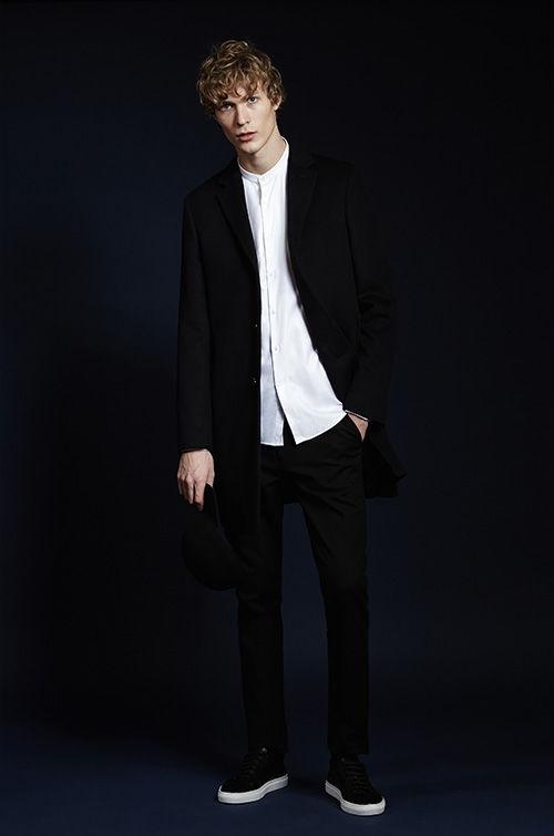 Gabriel wool-blend epsom coat , £295  Slim grandad collar shirt , £85  Ciaro cotton trousers , £95  CONVERSE Chuck Taylor sneakers , £65