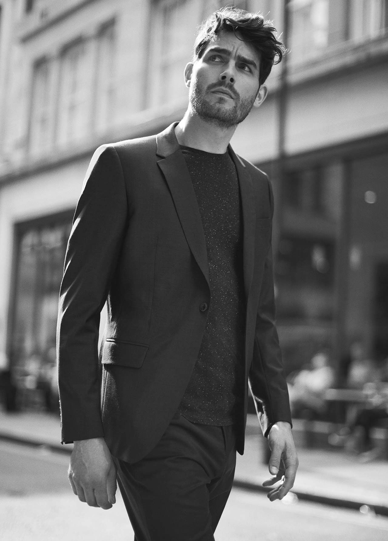 Winks slim-fit wool blazer , £275  Nate flecked crew-neck t-shirt , £35  Winks slim-fit wool trousers , £125