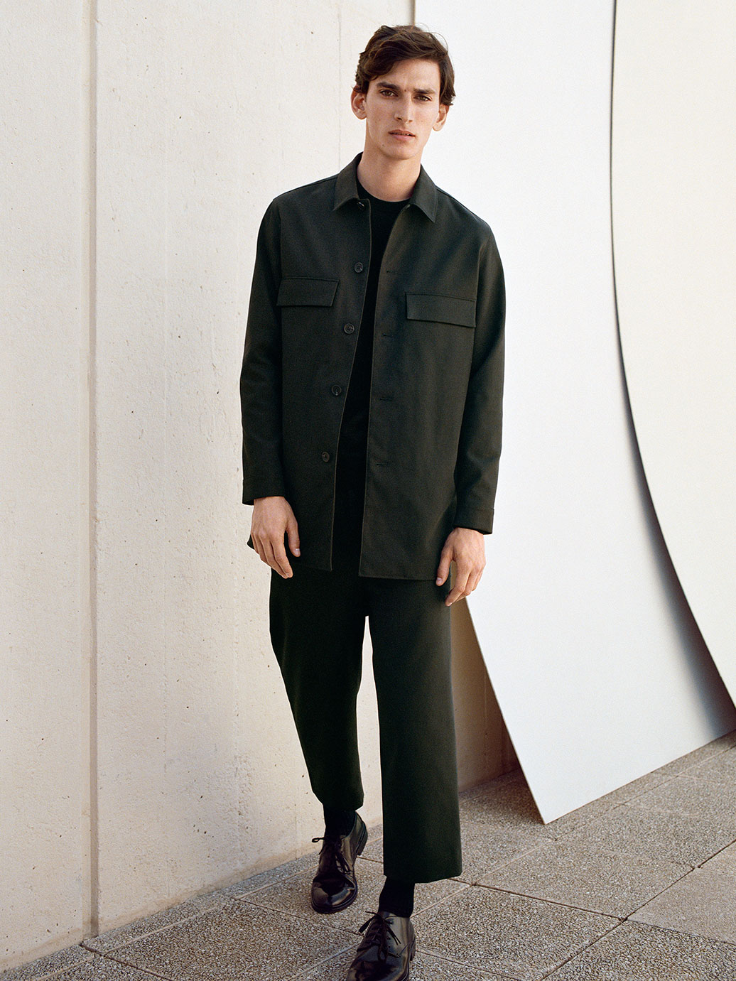 Long cotton-twill overshirt , £89  Round-neck merino jumper , £59  Cropped wide-leg trousers , £69  Leather Derby shoes , £125