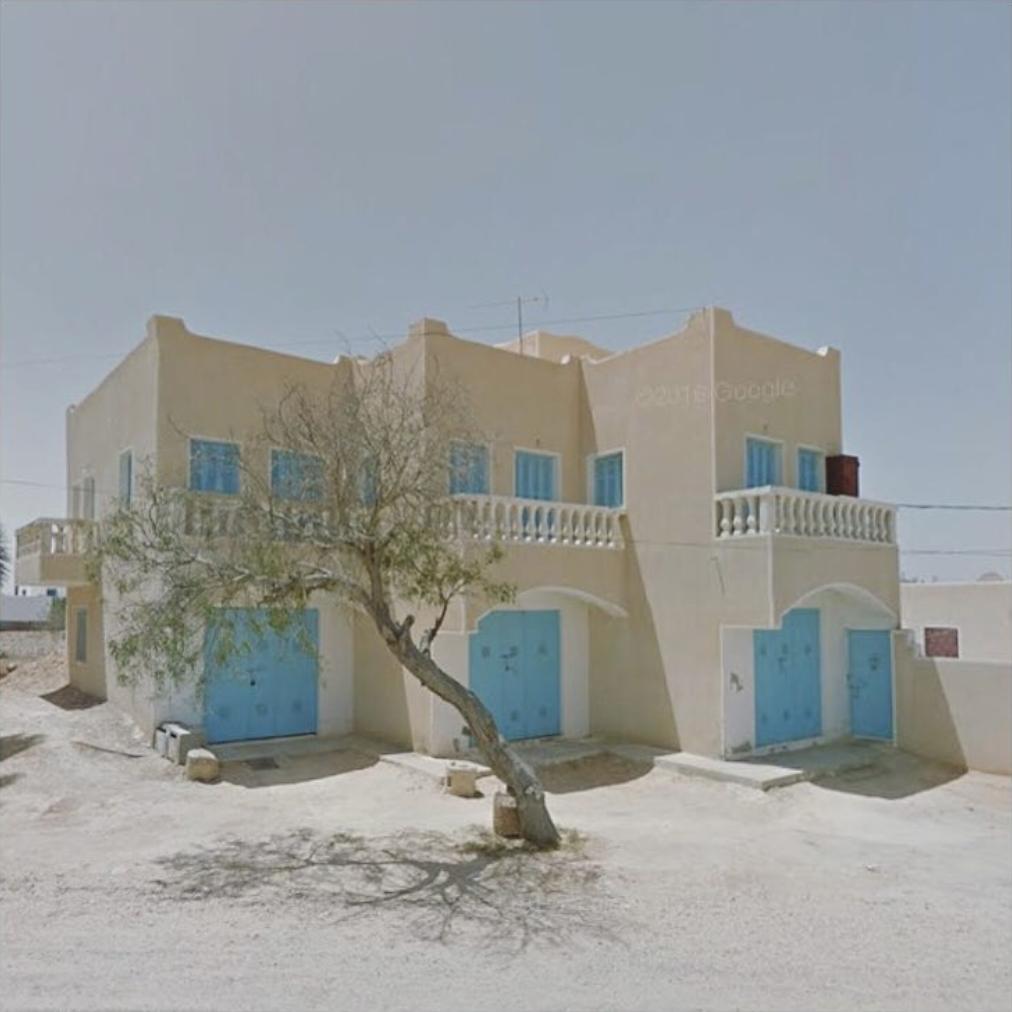 Jacqui Kenny,  Google Street View Scene - Triple blue doors in Guellaia, Medenine, Tunisia.  2017