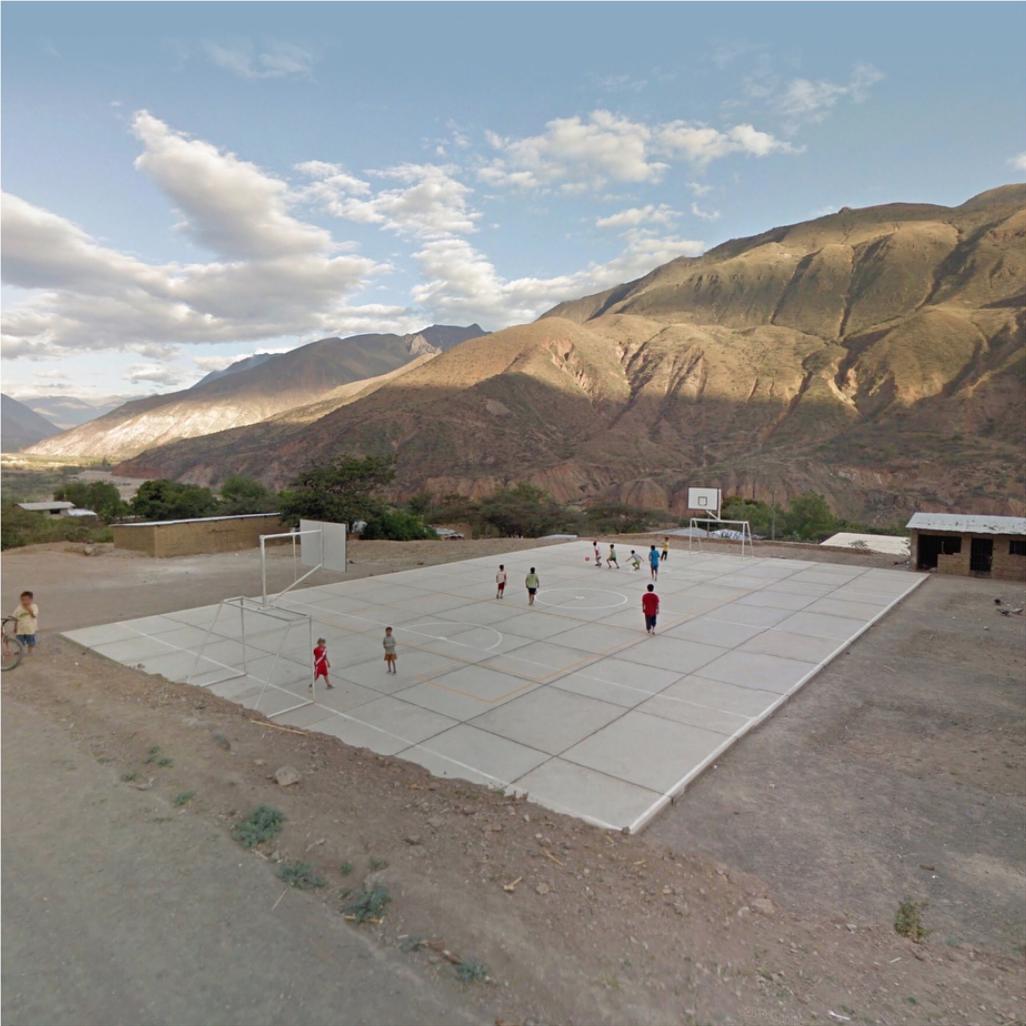 Jacqui Kenny,  Google Street View - Football game, Peru.  2017