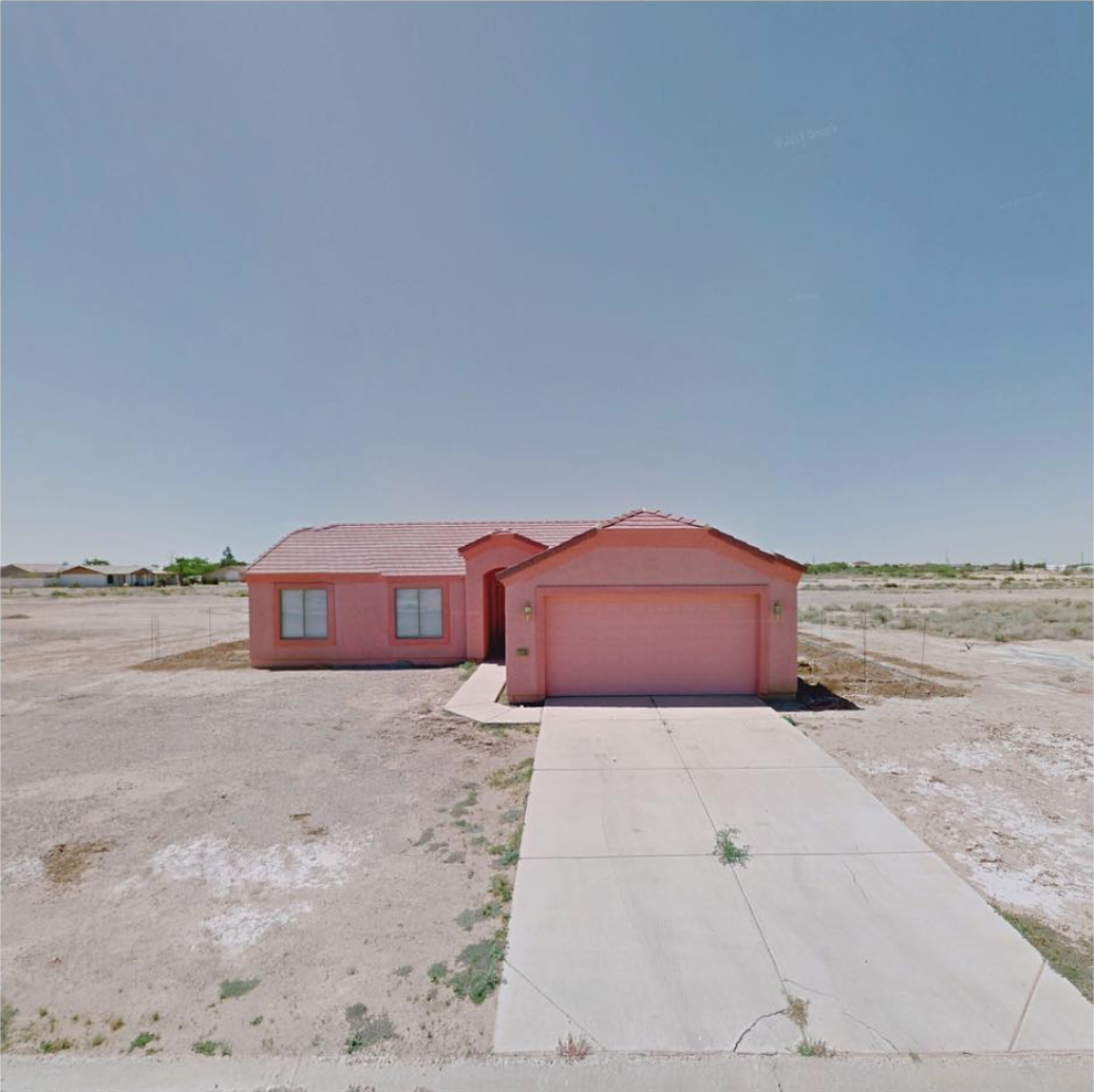 Jacqui Kenny,  Google Street View Scene - very pink house in Arizona City, Arizona.  2017