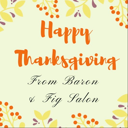 Happy Thanksgiving from all of us at Baron & Fig to you and yours! We hope that you're all looking (and eating) great today. We are so #thankful for all of our wonderful clients and the work we get to do to make you all look and feel better! • • • • • #thanksgiving #bridgewater #salon #bridgewatersalon #bridgewaterma #esthetician #bsu #thankful #happythanksgiving #clients #makeup #hair