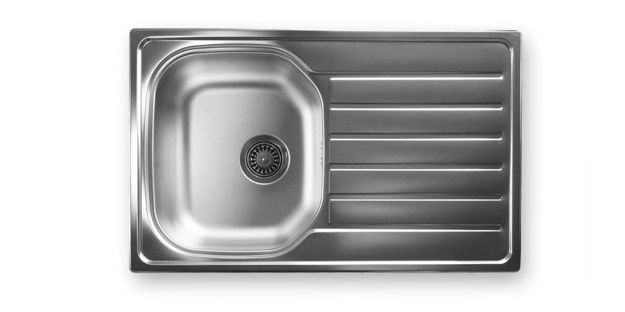 NA 105 -            SINK SINGLE BOWL 800X500mm         SINGLE DRAINER REVERSIBLEWITH 90mm WASTE.   BOWL SIZE: 345X405mm          MIN. CUPBOARD SIZE: 450mm