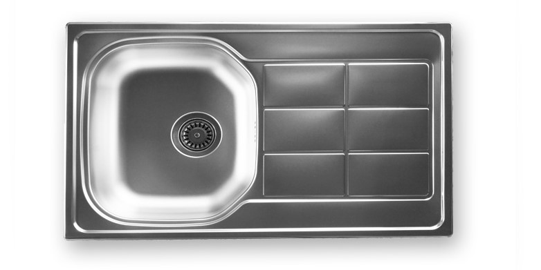 NB 105 -           SINK SINGLE BOWL 800X500mm         SINGLE DRAINER REVERSIBLEWITH 90mm WASTE.   BOWL SIZE: 345X405mm          MIN. CUPBOARD SIZE: 450mm  THICKNESS 0.80mm