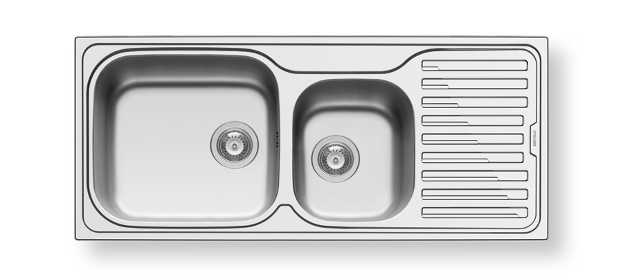 NC180 Left or Right -                             SINK 1 ¾ BOWL 1160X500X220mm                        REVERSIBLE, +90mm WASTES.                       BOWL SIZES : 450X400x200mm300x340x170mm                          MIN. CUPBOARD SIZE : 800mm      LEFT HAND BOWL