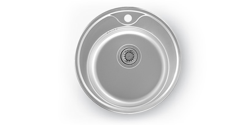 CB 050 - PREP BOWL ROUND(490X170mm)  WITH TAP HOLE (0.8mm)                  WITH 90mm WASTE  OVERFLOW   BOWL SIZE : 370mm X170mm Ø   MIN. CUPBOARD SIZE : 450mm