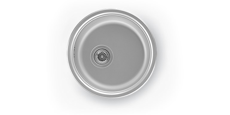 CR 045 - PREP BOWL ROUND(390X160mm)(0,8mm)WITH 90mm WASTE FITTING                       BOWL SIZE:385mmX 150mm Ø                   MIN. CUPBOARD SIZE 400mm