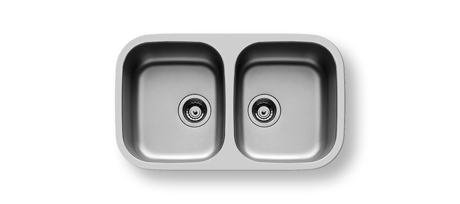 UM 770 -                                  UNDERMOUNT DOUBLE BOWL 770x450X180mm WITH 90mm WASTE FITTING     BOWL SIZES: 340x400x180mm CUPBOARD SIZE:800mm