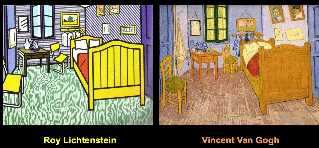 利希滕斯坦研究过蒙德里安、马蒂斯、塞尚、莫奈,美国的德·库宁、帕洛克、雷明顿等人的作品(以上都是一堆现代绘画的大咖),以及东方的美术。他还独创了网点画法。以戏仿其他画家的作品而出名。