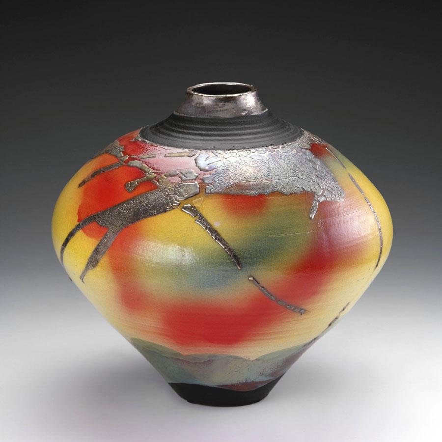 Raku fired pottery globe by Lambeth Marshall