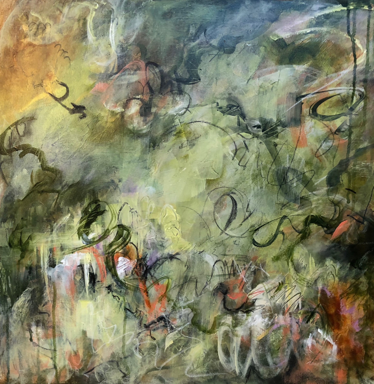 Oh Happy Days 36x36  mixed media painting by Lambeth Marshall